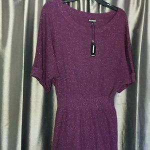 NEW Express dress L dark purple plum knit tunic